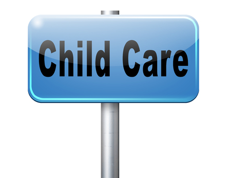 creche: Child care in daycare or creche by nanny or au pair parenting or babysitting protection against child abuse, road sign billboard.