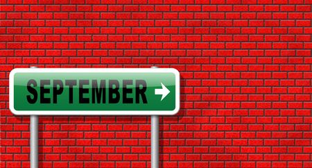 end month: september road sign for end of summer and begin fall or autumn month event agenda Stock Photo