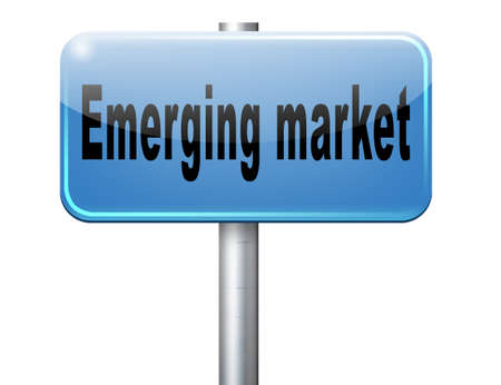 frantic: Emerging market new fast growing economy frantic economies, road sign billboard. Stock Photo