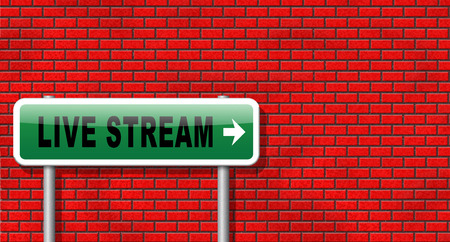 live stream sign: live stream music song audio or listen to radio streaming road sign billboard video or movie