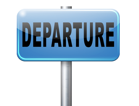 to depart: departure starting point of a journey depart departure icon departure button flight schedule road sign travel schedule billboard with text and word concept Stock Photo