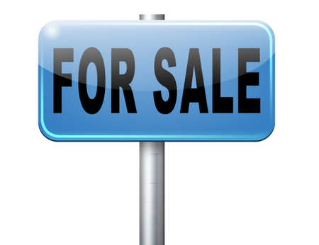 sale sign: For sale sign, selling a house apartment or other real estate sign. Home flat or room to let icon. Stock Photo