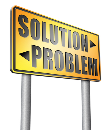 problem: problem solution road sign billboard. Stock Photo