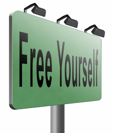 yourself: Free yourself road sign billboard.