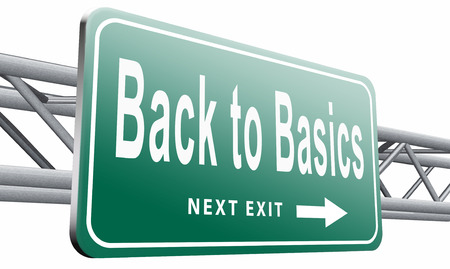 basics: Back to basics road sign billboard.