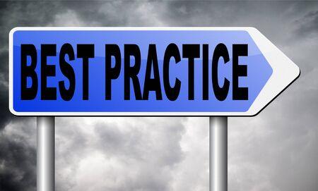 best practices: best practice road sign billboard. Stock Photo