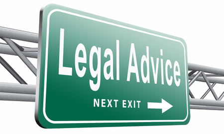 counsel: legal advice road sign billboard.