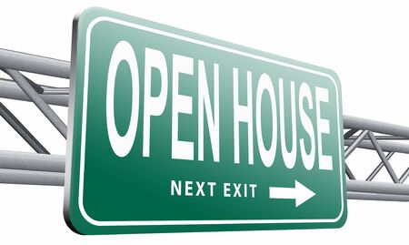 homes for sale: open house road sign billboard.