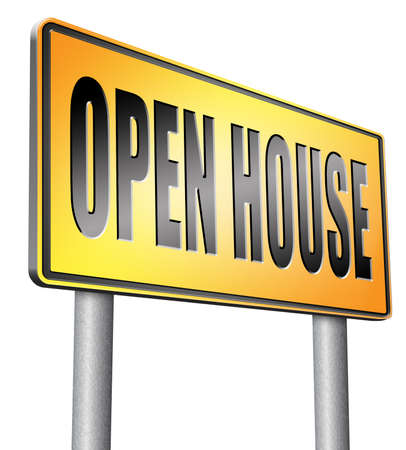 homes for sale: Open house road sign billboard. Stock Photo