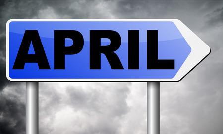 almanac: april road sign billboard.