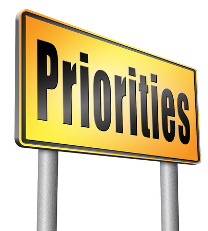 priorities: Priorities road sign billboard.