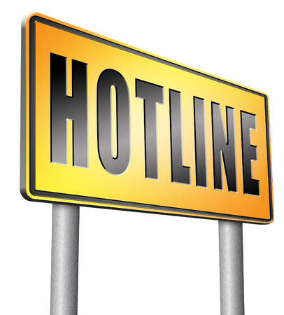 hotline: hotline road sign billboard. Stock Photo