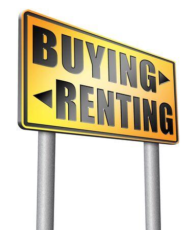 buying: Buying renting road sign billboard. Stock Photo