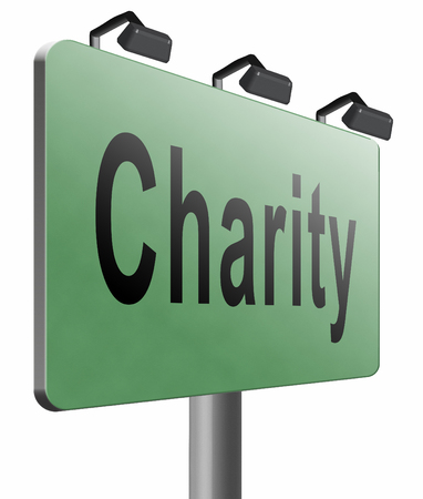 charity collection: charity road sign billboard. Stock Photo