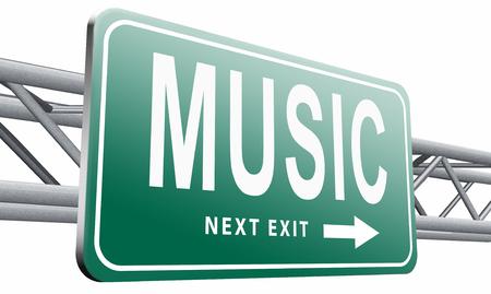 live stream radio: Music road sign billboard.
