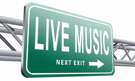 live stream radio: live music road sign billboard. Stock Photo