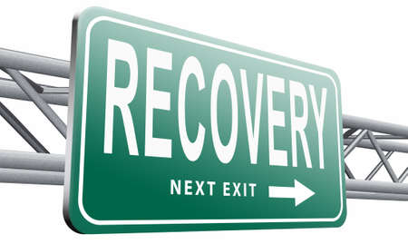 recovery: Recovery road sign billboard.