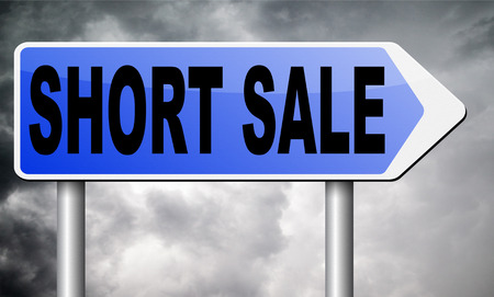 short sale: short sale road sign billboard. Stock Photo