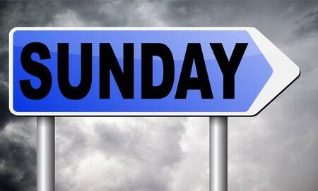 sunday: sunday road sign billboard.