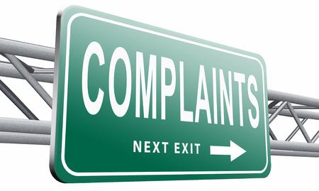 unacceptable: Complaints road sign billboard.