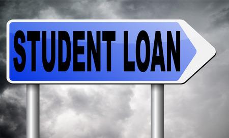 student loan: Student loan road sign billboard. Stock Photo