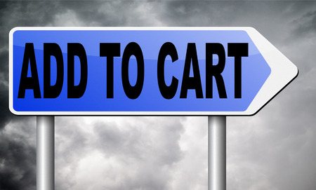 cart road: Add to cart road sign billboard.