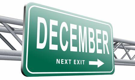 december: December, billboard road sign. Stock Photo