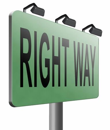 difficult decision: Right way road sign billboard. Stock Photo