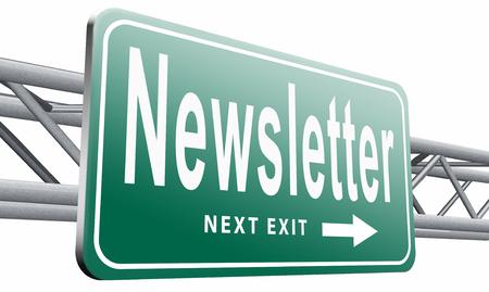 publishes: newsletter road sign billboard.