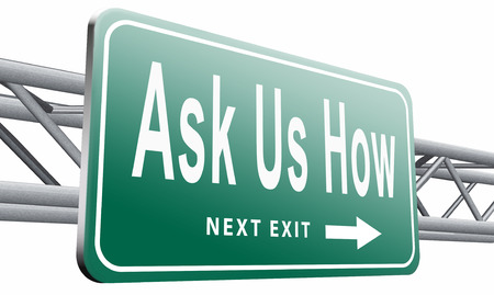 how to: Ask us how, road sign billboard. Stock Photo