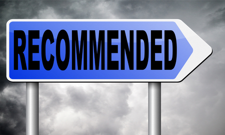recommended: recommended road sign billboard. Stock Photo