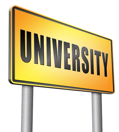 entry admission: University road sign billboard. Stock Photo