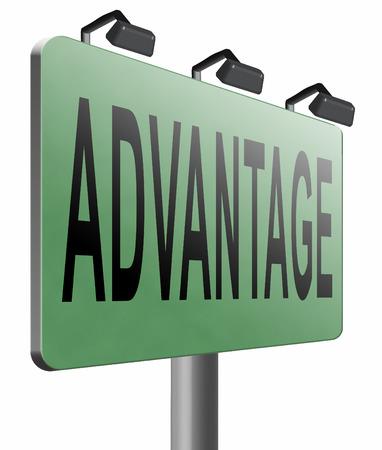 advantage: Advantage road sign billboard. Stock Photo