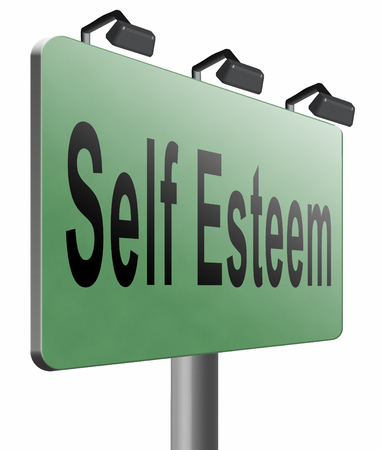 esteem: Self esteem road sign billboard. Stock Photo