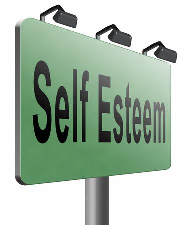 self worth: Self esteem road sign billboard. Stock Photo