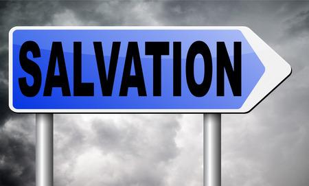 the salvation: salvation road sign billboard.