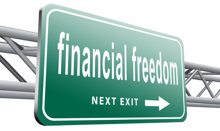 sufficient: financial freedom road sign billboard.