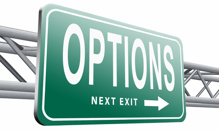 choosing selecting: Options road sign billboard. Stock Photo