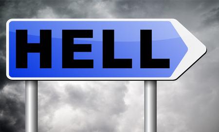 infierno: diablos cartelera señal de tráfico. Foto de archivo
