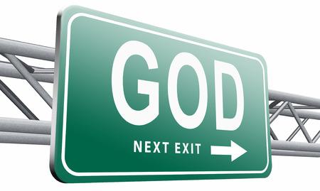god button: God road sign billboard. Stock Photo