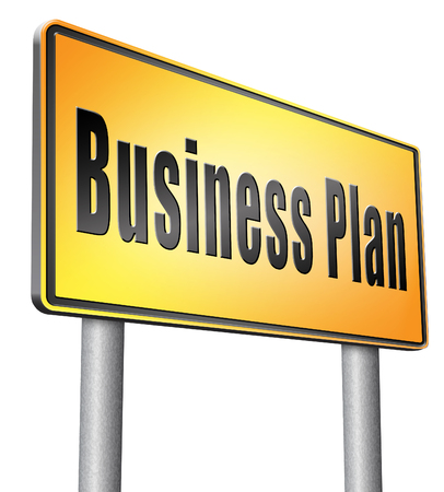 business sign: business plan, road sign billboard.