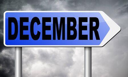 december: December road sign billboard. Stock Photo
