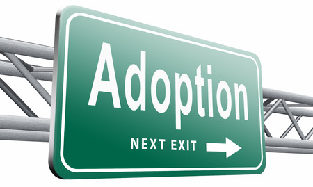 foster parenting: adoption road sign billboard.