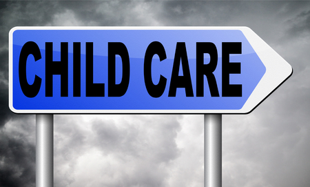 child care road sign billboard.