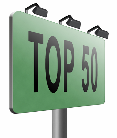 top 50 icon: top 50 road sign billboard. Stock Photo