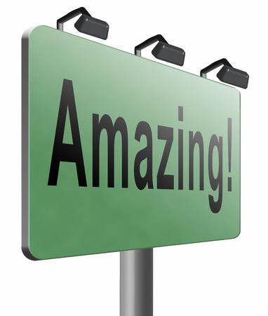 greatness: amazing road sign billboard. Stock Photo