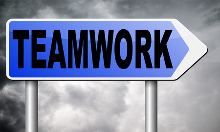 teambuilding: teamwork road sign billboard.