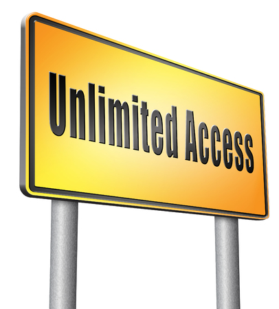 unlimited: Unlimited access road sign billboard.