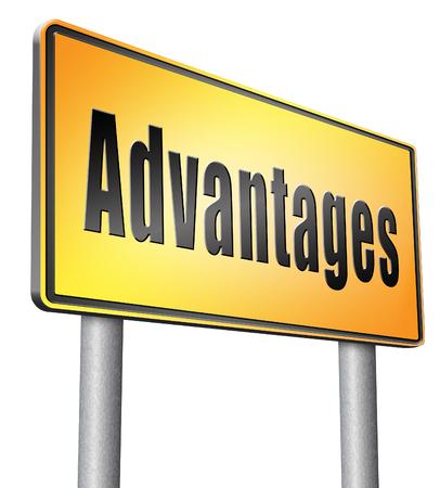 advantages: Advantages road sign billboard. Stock Photo