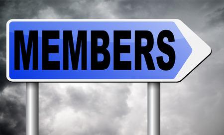 members: members road sign billboard. Stock Photo